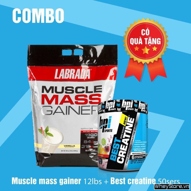 Muscle mass gainer 12lbs + Best Creatine 50 servings