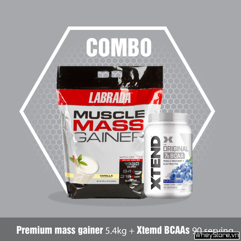 Muscle mass gainer 12lbs + Xtend BCAA 90servings