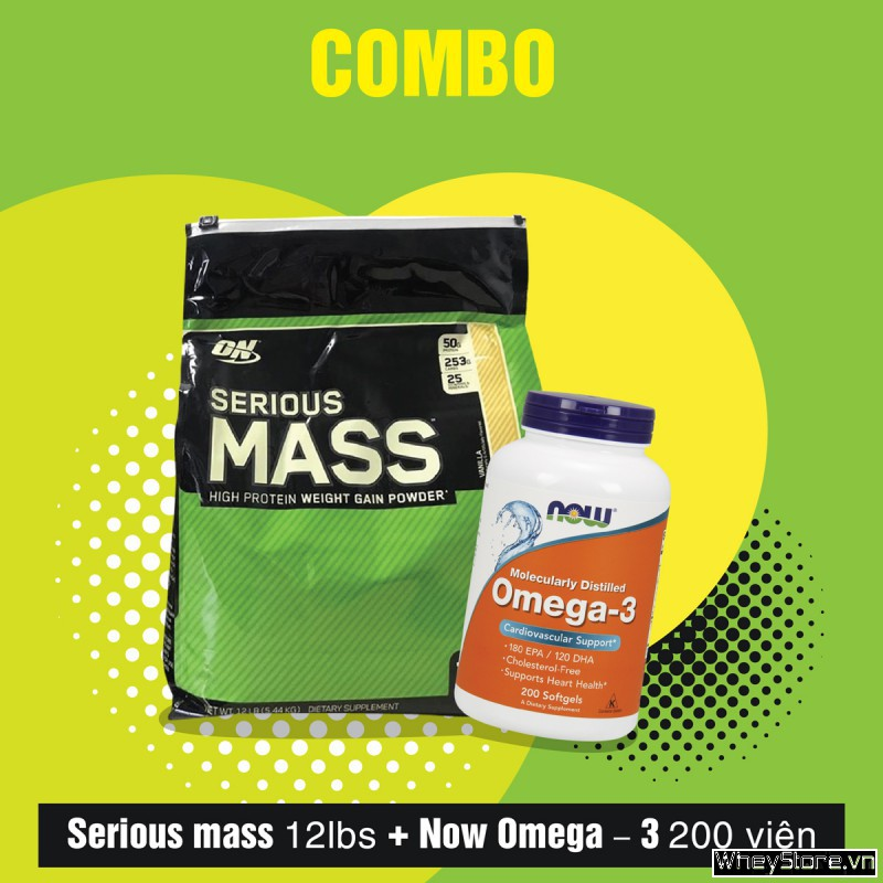 Serious mass 12lbs + Now Omega–3 200 viên
