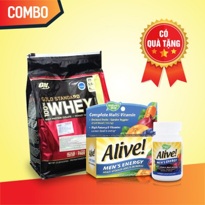 Whey Gold 10lbs + Alive Men's
