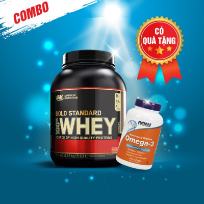 Whey gold 5lbs + Now Omega -3